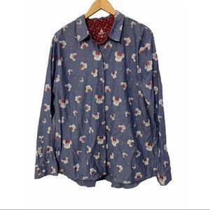 Disney Parks Minnie Mouse Rose Denim Shirt XXL